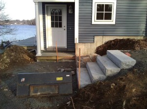 Granite Steps in Billerical, MA installed by Scott's Tree & Landscape, Inc
