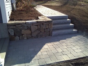 Retaining wall and granite steps in Billerica, MA