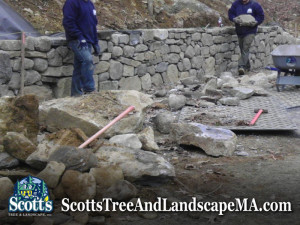 Building a big retaining wall in Carlisle, MA.