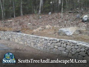 75ft fieldstone retaining wall built in Carlisle, MA