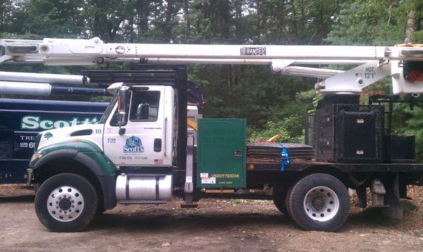 70ft bucket truck tree removal in Westford, MA
