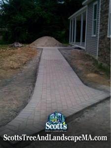 Brick paver walkway construction in Harvard, MA.