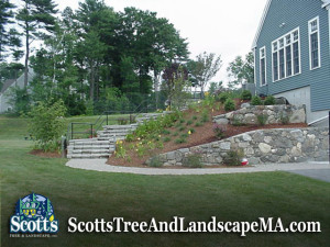Commercial landscape design, retaining walls, walkway and steps in Acton, MA