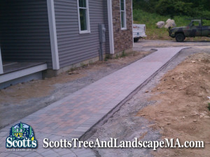 Landscape construction and Brick paver walkway in Harvard, MA.