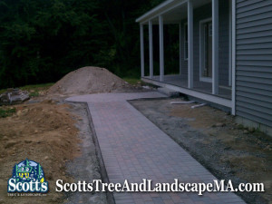 Brick paver walkway and landscape construction in Harvard, MA.