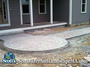 Round brick paver walkway construction in Harvard, MA.